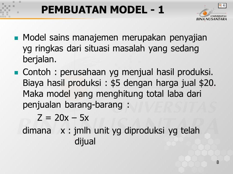 8 PEMBUATAN MODEL - 1 Model sains manajemen merupakan penyajian yg ringkas dari situasi masalah yang sedang berjalan. Contoh : perusahaan yg menjual h