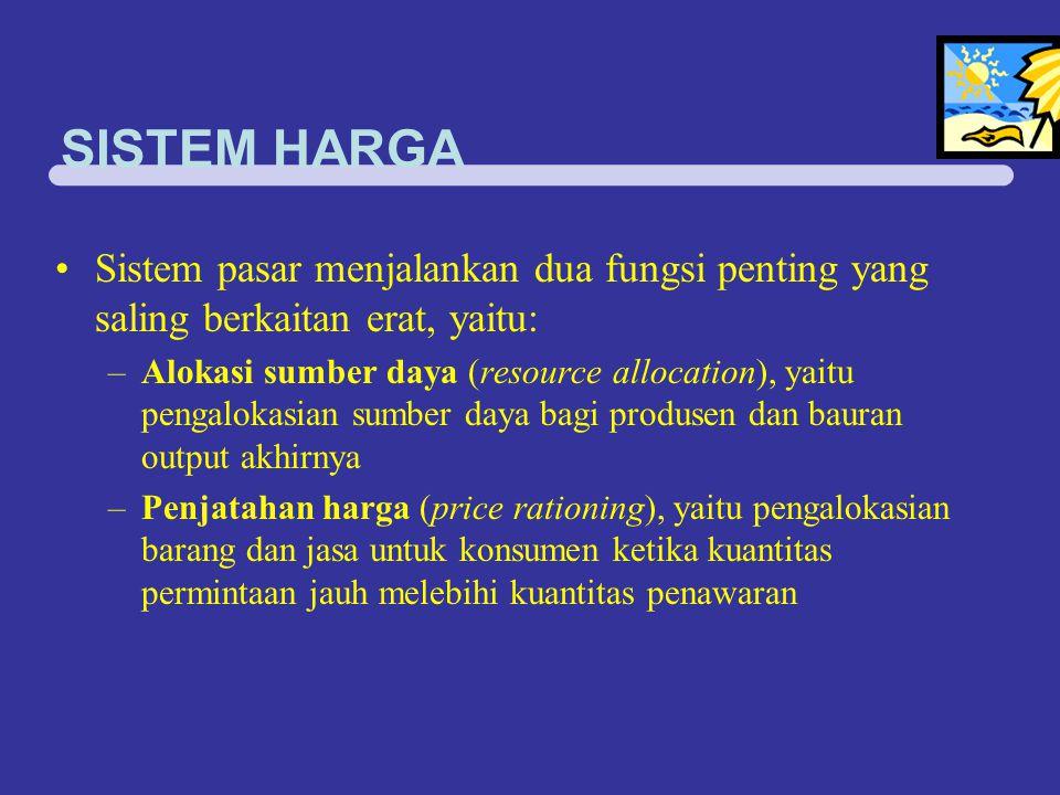 SISTEM HARGA Sistem pasar menjalankan dua fungsi penting yang saling berkaitan erat, yaitu: –Alokasi sumber daya (resource allocation), yaitu pengalok
