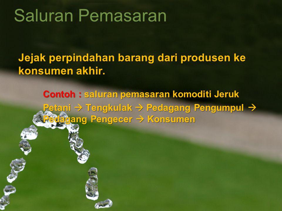 Saluran Pemasaran Jejak perpindahan barang dari produsen ke konsumen akhir. Contoh : saluran pemasaran komoditi Jeruk Petani  Tengkulak  Pedagang Pe