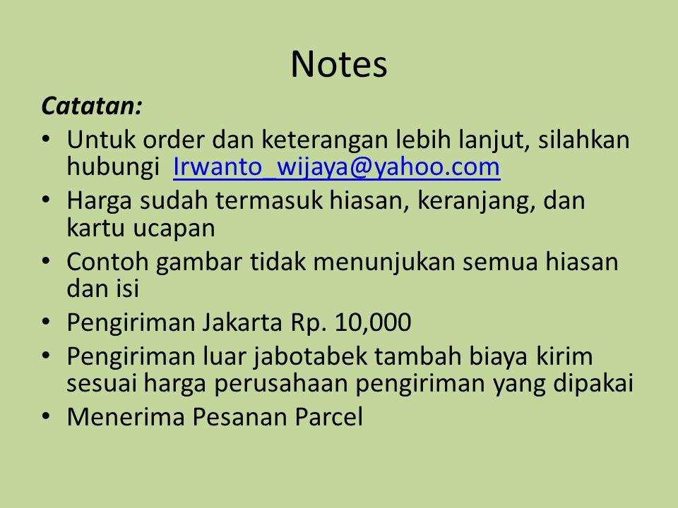 Notes Catatan: Untuk order dan keterangan lebih lanjut, silahkan hubungi Irwanto_wijaya@yahoo.comIrwanto_wijaya@yahoo.com Harga sudah termasuk hiasan,