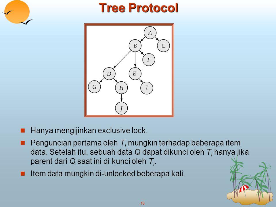 .16 Tree Protocol Hanya mengijinkan exclusive lock. Penguncian pertama oleh T i mungkin terhadap beberapa item data. Setelah itu, sebuah data Q dapat