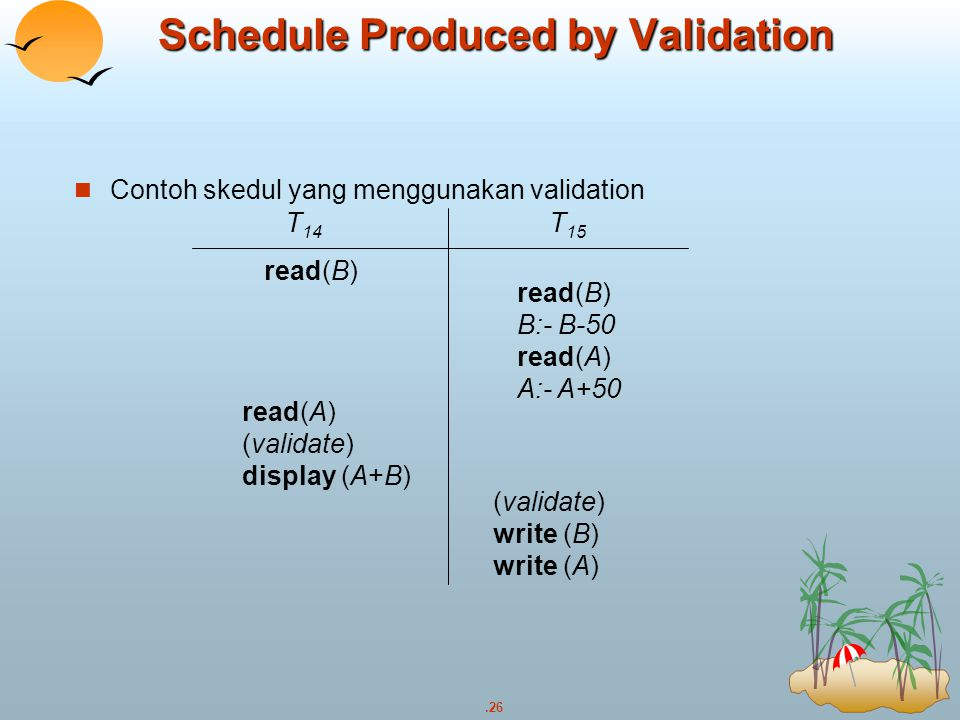 .26 Schedule Produced by Validation Contoh skedul yang menggunakan validation T 14 T 15 read(B) B:- B-50 read(A) A:- A+50 read(A) (validate) display (