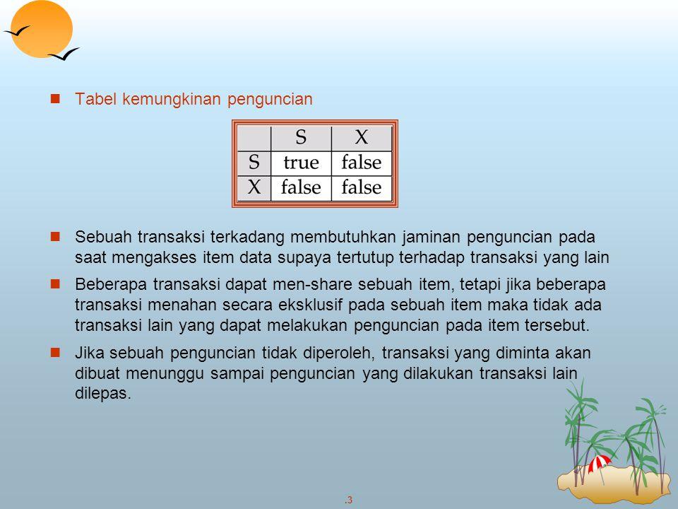 .4 Contoh penerapan penguncian pada pentransferan dana dari B ke A : T1: lock-X(B); read (B); B  B – 500 write (B) unlock(B); lock-X(A); read (A); A  A + 500 wtite (A) unlock(A); Transaksi T2 yang akan menampilkan total saldo kedua rekening: T 2 : lock-S(A); read (A); unlock(A); lock-S(B); read (B); write (B) unlock(B); display(A+B) Sebuah locking protocol adalah sekumpulan aturan dalam sebuah transaksi yang memanggil dan melepas penguncian.