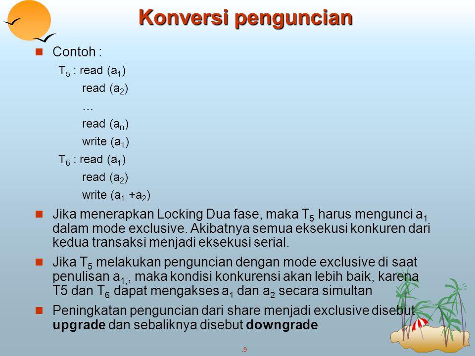 .9 Contoh : T 5 : read (a 1 ) read (a 2 ) … read (a n ) write (a 1 ) T 6 : read (a 1 ) read (a 2 ) write (a 1 +a 2 ) Jika menerapkan Locking Dua fase,