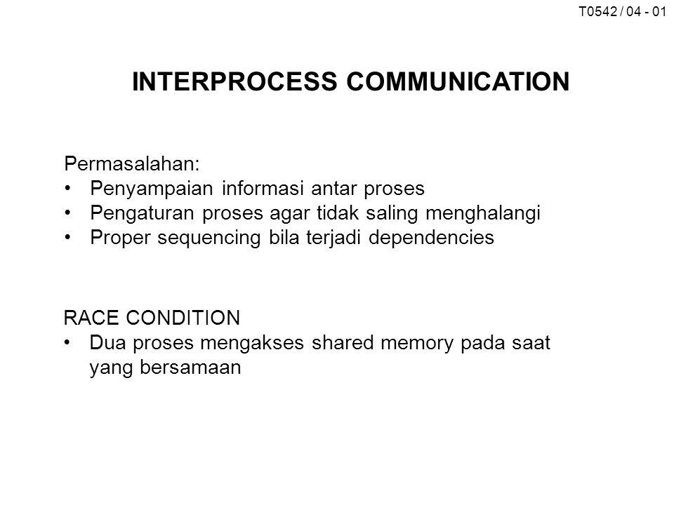 T0542 / 04 - 01 INTERPROCESS COMMUNICATION Permasalahan: Penyampaian informasi antar proses Pengaturan proses agar tidak saling menghalangi Proper sequencing bila terjadi dependencies RACE CONDITION Dua proses mengakses shared memory pada saat yang bersamaan