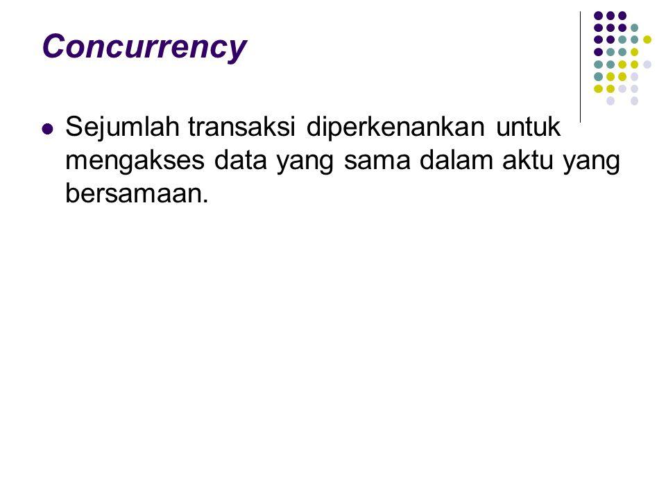 Concurrency Sejumlah transaksi diperkenankan untuk mengakses data yang sama dalam aktu yang bersamaan.