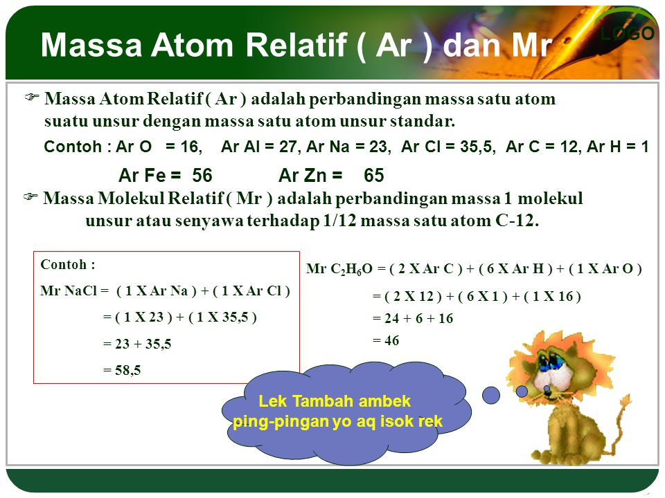 LOGO Massa Atom Relatif ( Ar ) dan Mr  Massa Atom Relatif ( Ar ) adalah perbandingan massa satu atom suatu unsur dengan massa satu atom unsur standar.