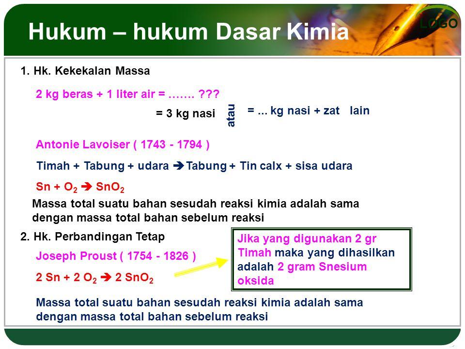 LOGO Hukum – hukum Dasar Kimia 1.Hk. Kekekalan Massa 2 kg beras + 1 liter air = …….