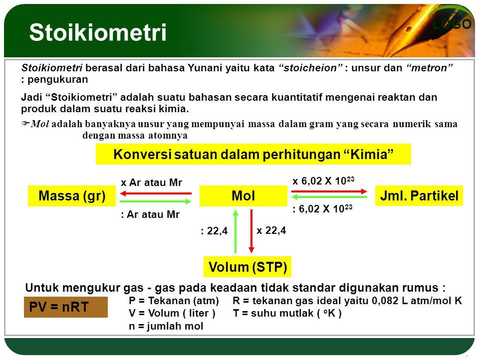 LOGO Stoikiometri Stoikiometri berasal dari bahasa Yunani yaitu kata stoicheion : unsur dan metron : pengukuran Jadi Stoikiometri adalah suatu bahasan secara kuantitatif mengenai reaktan dan produk dalam suatu reaksi kimia.