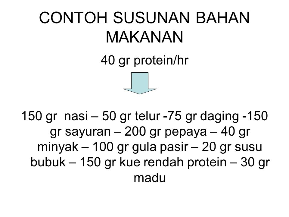 CONTOH SUSUNAN BAHAN MAKANAN 40 gr protein/hr 150 gr nasi – 50 gr telur -75 gr daging -150 gr sayuran – 200 gr pepaya – 40 gr minyak – 100 gr gula pas