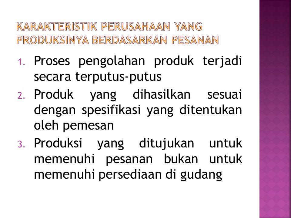 1. Proses pengolahan produk terjadi secara terputus-putus 2.