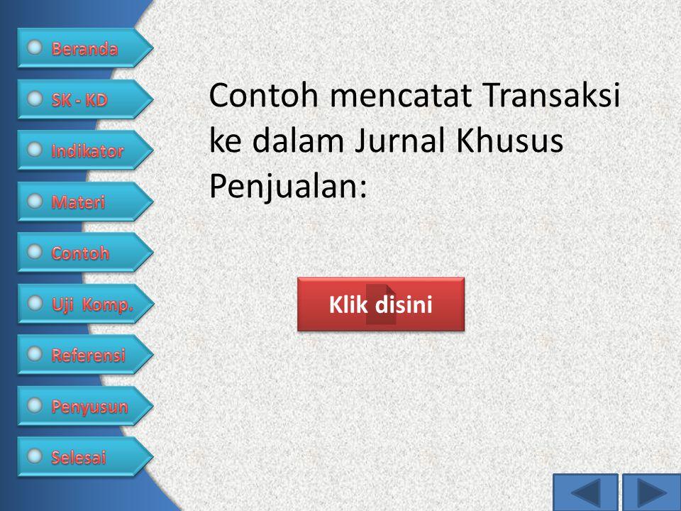 Contoh mencatat Transaksi ke dalam Jurnal Khusus Penjualan: Klik disini
