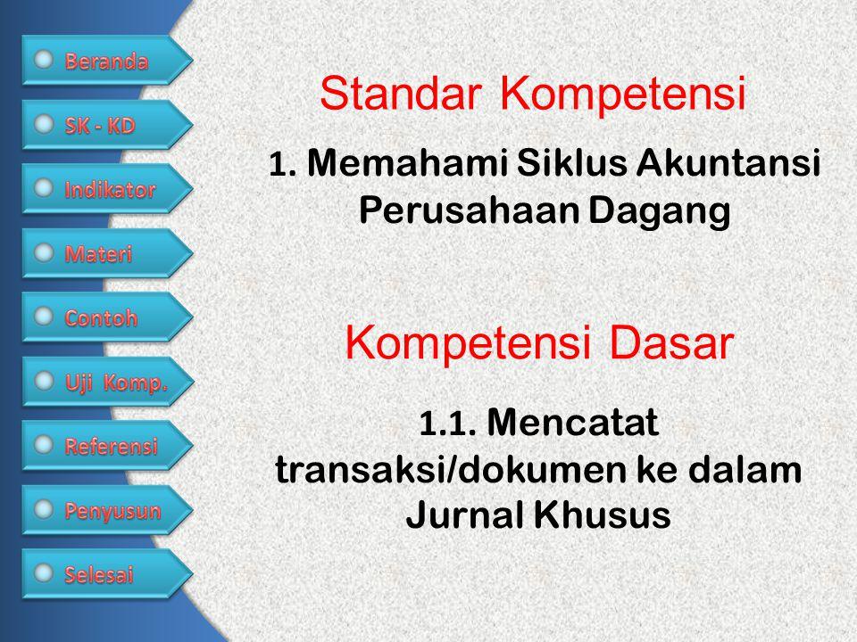 1.1. Mencatat transaksi/dokumen ke dalam Jurnal Khusus Kompetensi Dasar Standar Kompetensi 1. Memahami Siklus Akuntansi Perusahaan Dagang