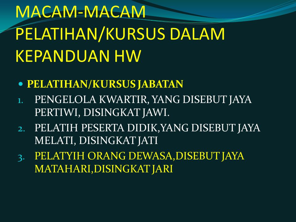 MACAM-MACAM PELATIHAN/KURSUS DALAM KEPANDUAN HW PELATIHAN/KURSUS JABATAN 1.