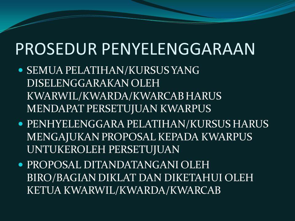 PROSEDUR PENYELENGGARAAN SEMUA PELATIHAN/KURSUS YANG DISELENGGARAKAN OLEH KWARWIL/KWARDA/KWARCAB HARUS MENDAPAT PERSETUJUAN KWARPUS PENHYELENGGARA PELATIHAN/KURSUS HARUS MENGAJUKAN PROPOSAL KEPADA KWARPUS UNTUKEROLEH PERSETUJUAN PROPOSAL DITANDATANGANI OLEH BIRO/BAGIAN DIKLAT DAN DIKETAHUI OLEH KETUA KWARWIL/KWARDA/KWARCAB