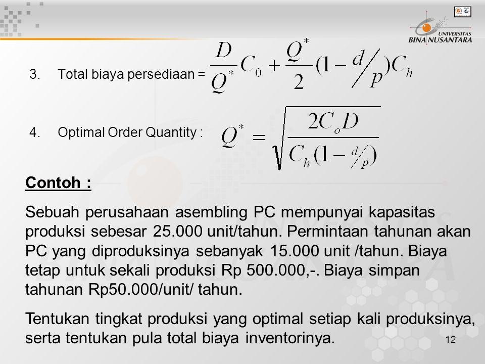 12 3.Total biaya persediaan = 4.Optimal Order Quantity : Contoh : Sebuah perusahaan asembling PC mempunyai kapasitas produksi sebesar 25.000 unit/tahu