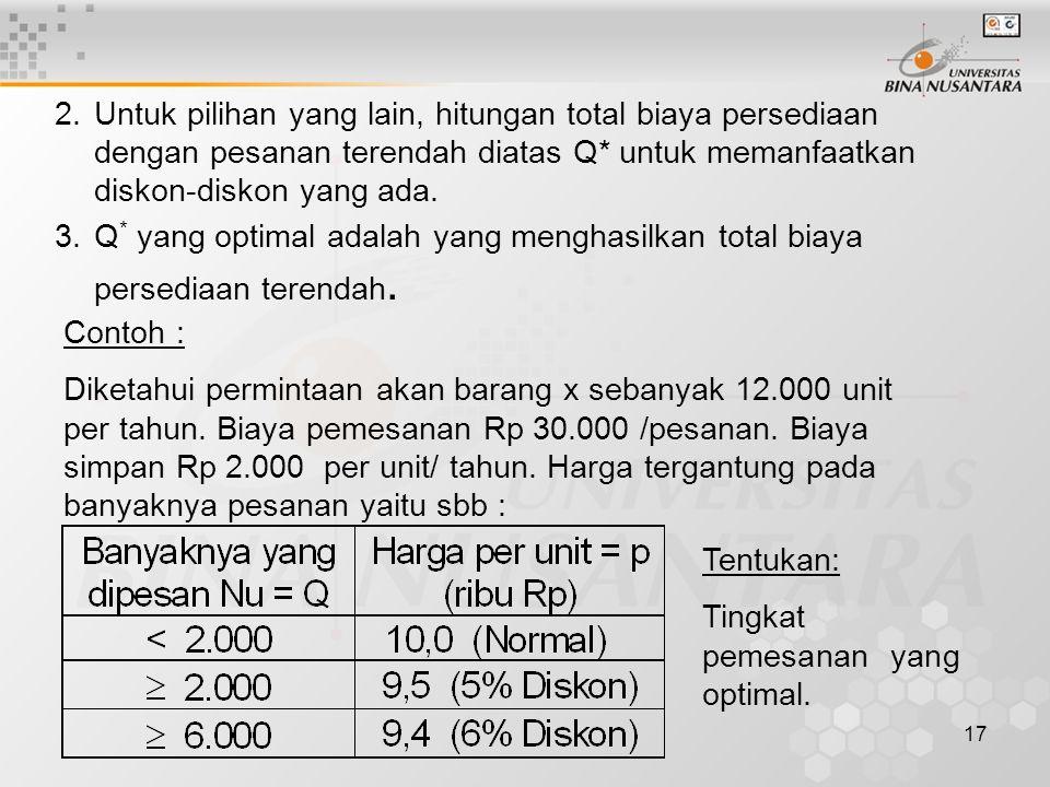 17 2.Untuk pilihan yang lain, hitungan total biaya persediaan dengan pesanan terendah diatas Q* untuk memanfaatkan diskon-diskon yang ada. 3.Q * yang