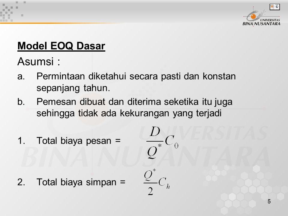5 Model EOQ Dasar Asumsi : a.Permintaan diketahui secara pasti dan konstan sepanjang tahun. b.Pemesan dibuat dan diterima seketika itu juga sehingga t