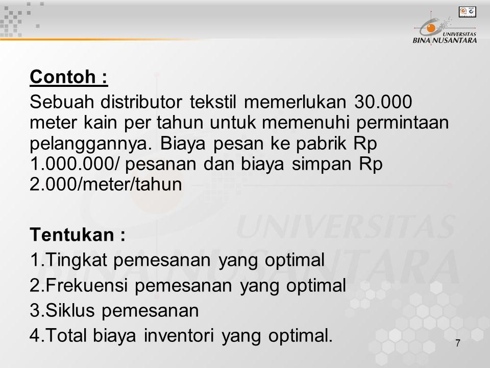 7 Contoh : Sebuah distributor tekstil memerlukan 30.000 meter kain per tahun untuk memenuhi permintaan pelanggannya. Biaya pesan ke pabrik Rp 1.000.00