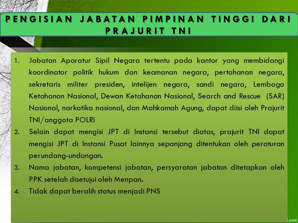 PENGISIAN JABATAN PIMPINAN TINGGI DARI PRAJURIT TNI 1. Jabatan Aparatur Sipil Negara tertentu pada kantor yang membidangi koordinator politik hukum da