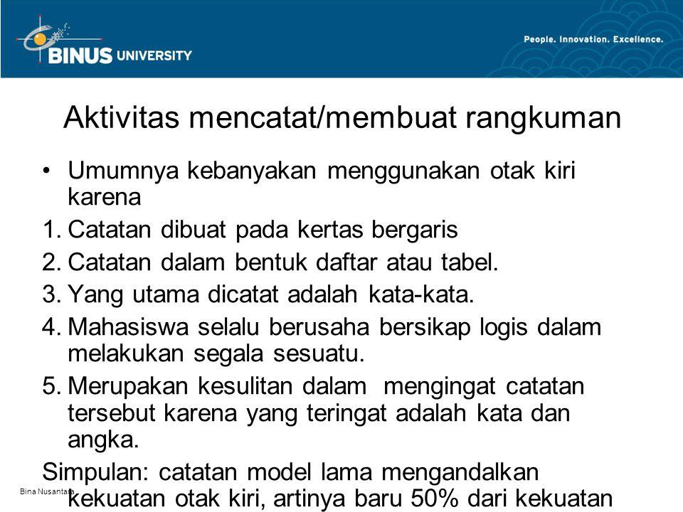 Bina Nusantara Aktivitas mencatat/membuat rangkuman Umumnya kebanyakan menggunakan otak kiri karena 1.Catatan dibuat pada kertas bergaris 2.Catatan da