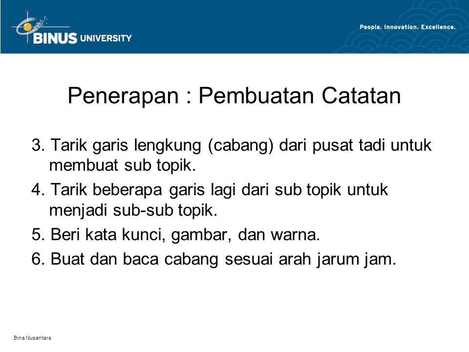 Bina Nusantara Penerapan : Pembuatan Catatan 3. Tarik garis lengkung (cabang) dari pusat tadi untuk membuat sub topik. 4. Tarik beberapa garis lagi da