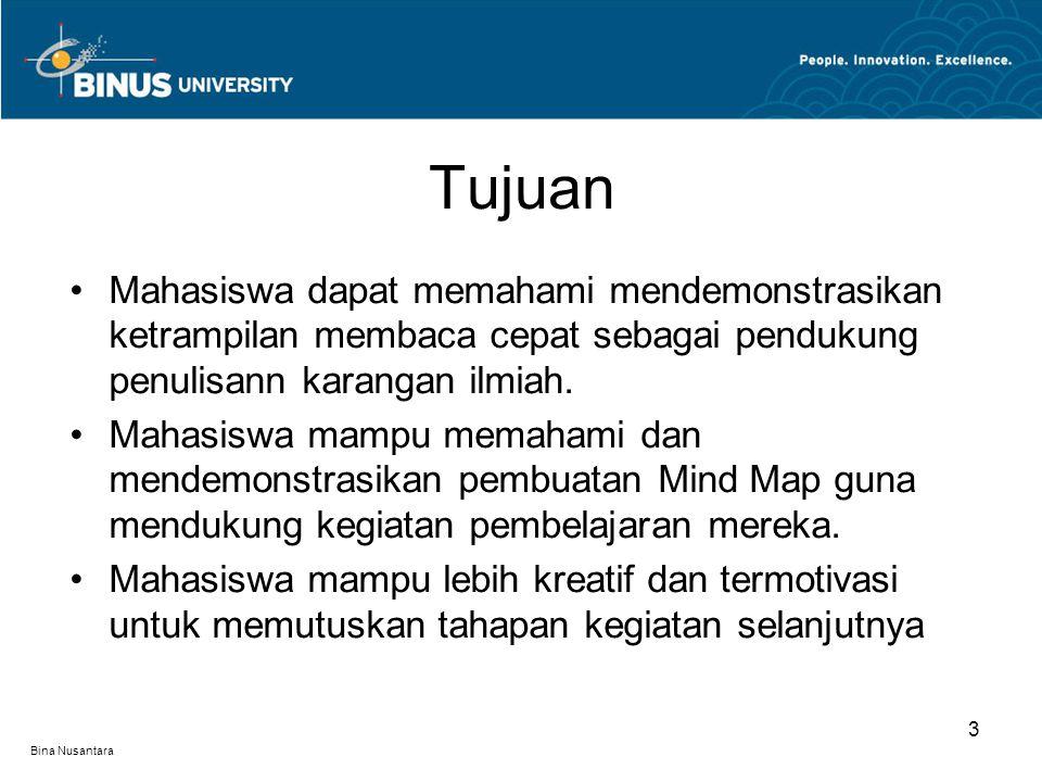 Bina Nusantara Mahasiswa dapat memahami mendemonstrasikan ketrampilan membaca cepat sebagai pendukung penulisann karangan ilmiah. Mahasiswa mampu mema