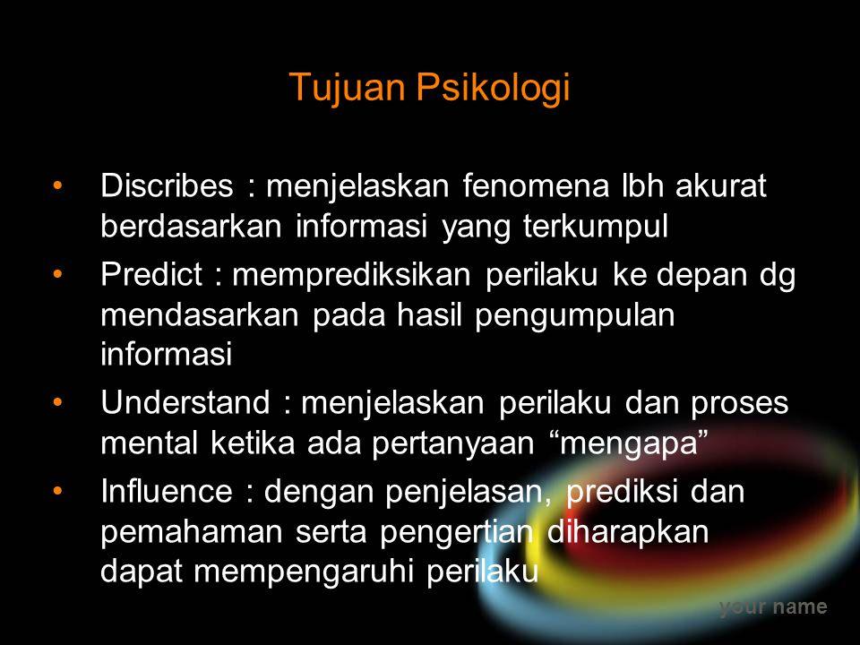 your name Tujuan Psikologi Discribes : menjelaskan fenomena lbh akurat berdasarkan informasi yang terkumpul Predict : memprediksikan perilaku ke depan