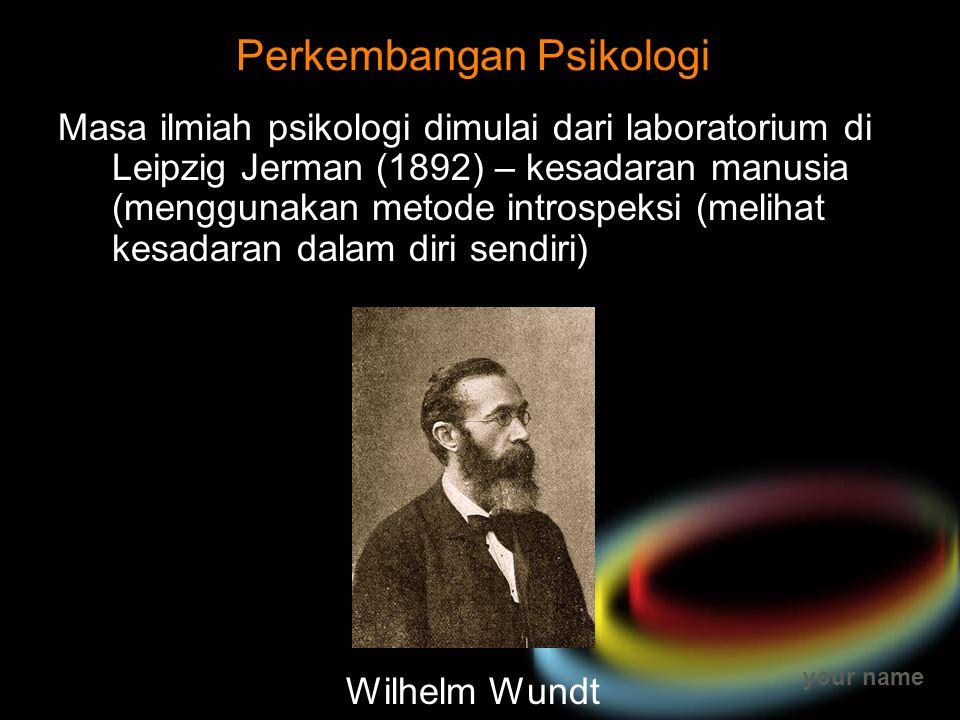 your name Perkembangan Psikologi Masa ilmiah psikologi dimulai dari laboratorium di Leipzig Jerman (1892) – kesadaran manusia (menggunakan metode intr