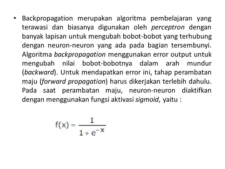 Backpropagation merupakan algoritma pembelajaran yang terawasi dan biasanya digunakan oleh perceptron dengan banyak lapisan untuk mengubah bobot-bobot