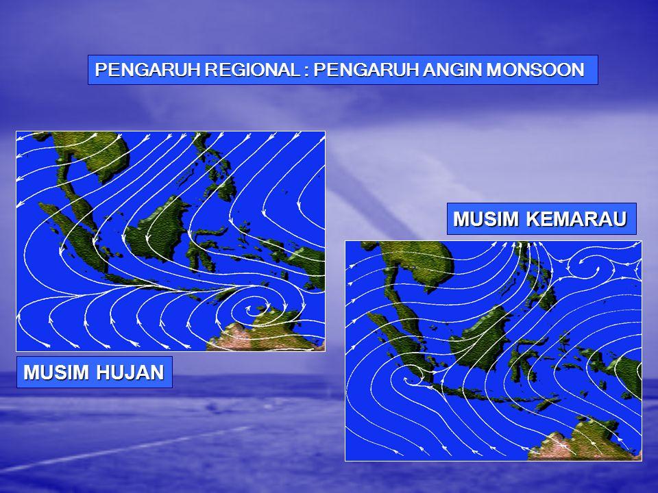 PENGARUH GLOBAL : GEJALA EL-NINO & LA-NINA Kondisi Anomali Suhu Muka Laut ( o C) Anomali Suhu Muka Laut ( o C)  3 3 3 3 2 - 3 1 - 2 0 - 1.0 -1 - -