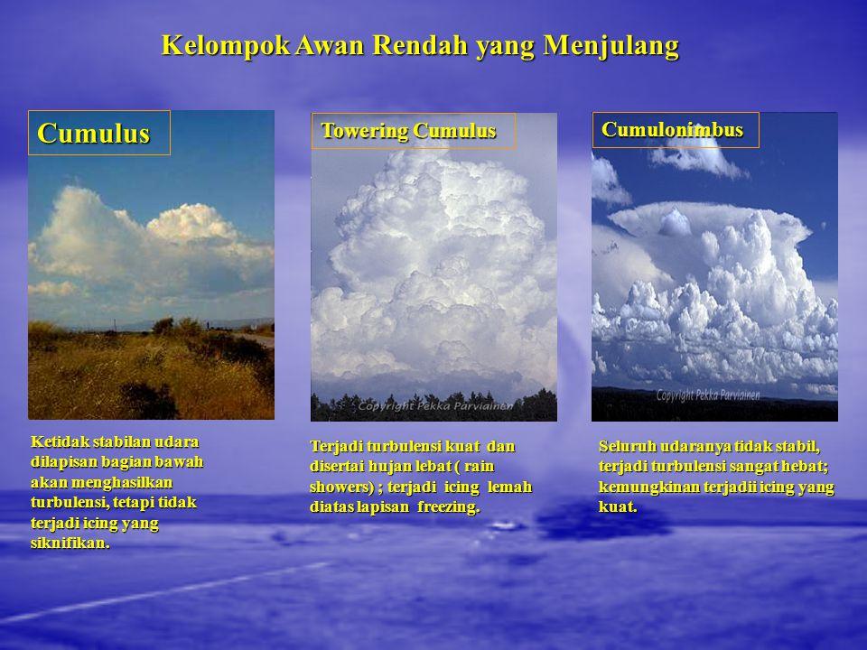 Kelompok Awan Rendah Stratus Lemah atau tidak ada turbulensi; bahaya icing jika suhu mendekati atau dibawah freezing; apabila bergabung dengan fog ata