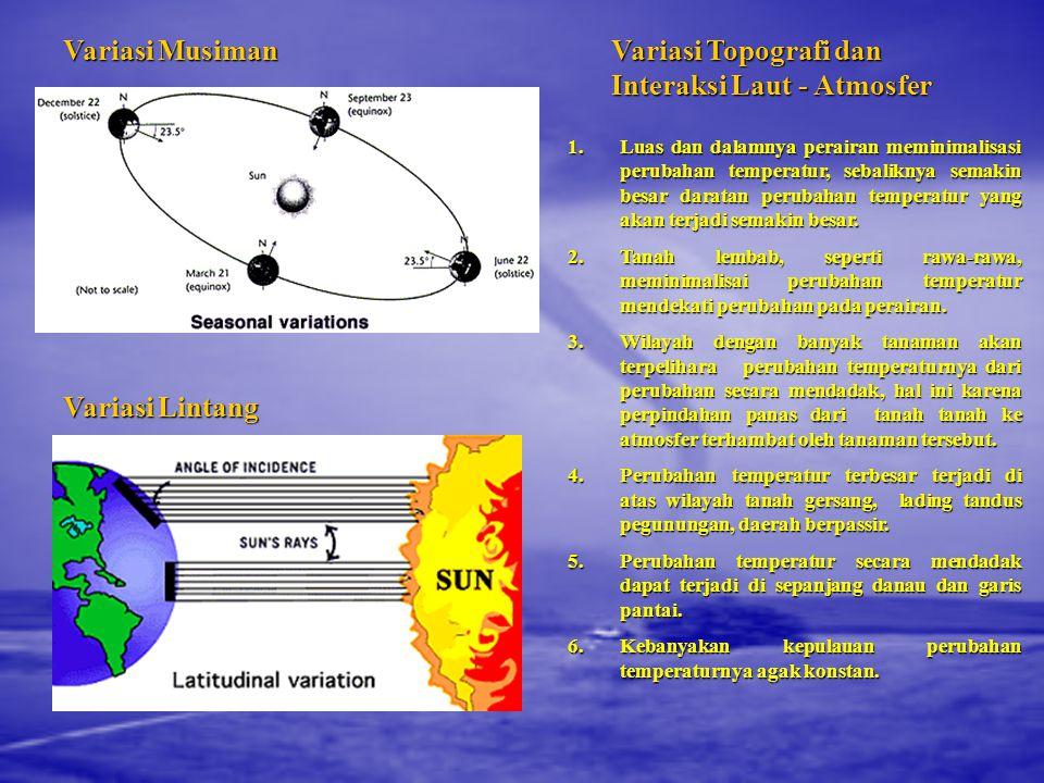 Variasi Topografi dan Interaksi Laut - Atmosfer 1.Luas dan dalamnya perairan meminimalisasi perubahan temperatur, sebaliknya semakin besar daratan perubahan temperatur yang akan terjadi semakin besar.