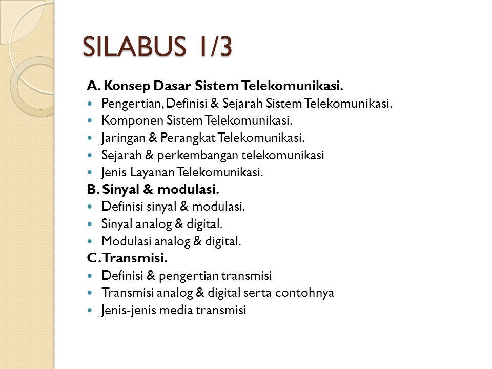SILABUS 1/3 A. Konsep Dasar Sistem Telekomunikasi. Pengertian, Definisi & Sejarah Sistem Telekomunikasi. Komponen Sistem Telekomunikasi. Jaringan & Pe