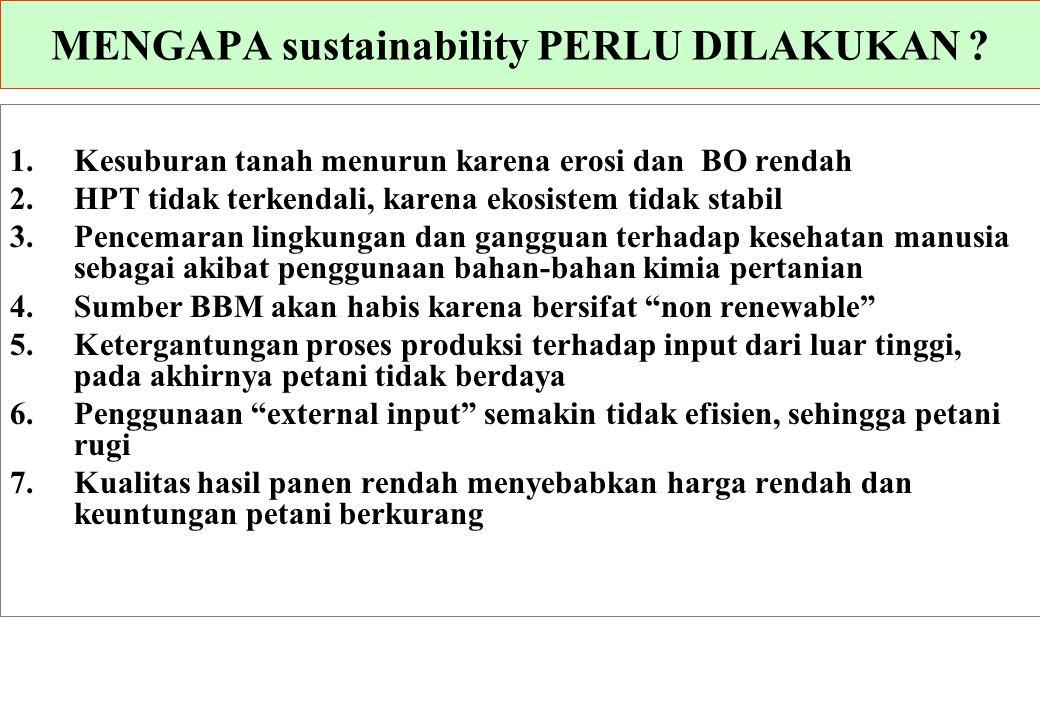 MENGAPA sustainability PERLU DILAKUKAN ? 1.Kesuburan tanah menurun karena erosi dan BO rendah 2.HPT tidak terkendali, karena ekosistem tidak stabil 3.