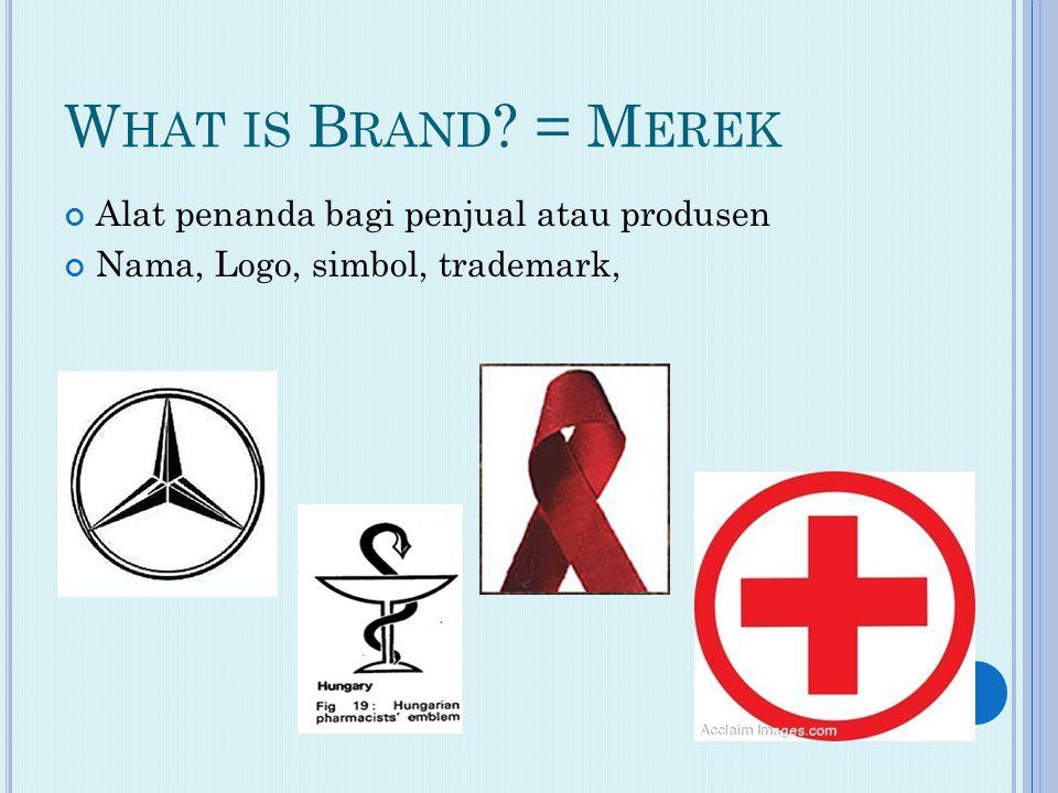 W HAT IS B RAND = M EREK Alat penanda bagi penjual atau produsen Nama, Logo, simbol, trademark,