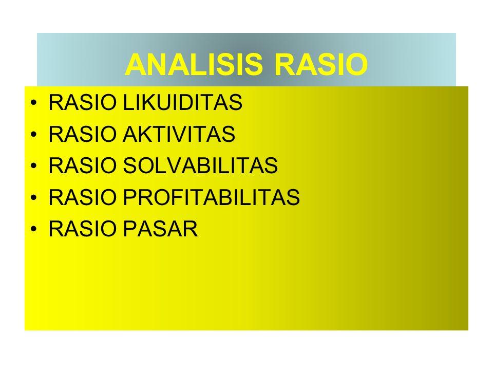ANALISIS RASIO RASIO LIKUIDITAS RASIO AKTIVITAS RASIO SOLVABILITAS RASIO PROFITABILITAS RASIO PASAR