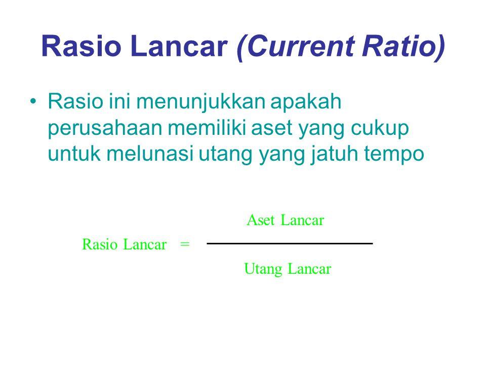 Rasio Lancar (Current Ratio) Rasio ini menunjukkan apakah perusahaan memiliki aset yang cukup untuk melunasi utang yang jatuh tempo Rasio Lancar= Aset