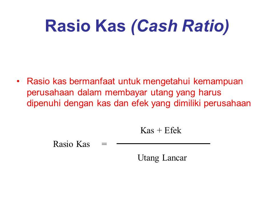 Rasio Kas (Cash Ratio) Rasio kas bermanfaat untuk mengetahui kemampuan perusahaan dalam membayar utang yang harus dipenuhi dengan kas dan efek yang di