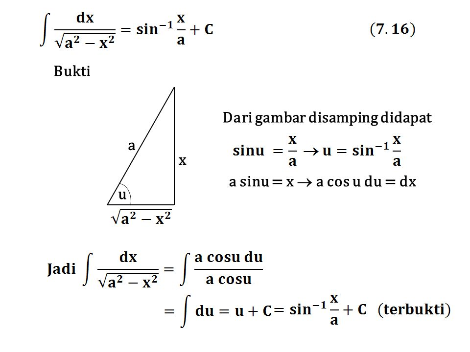 a x u Bukti Dari gambar disamping didapat a sinu = x  a cos u du = dx
