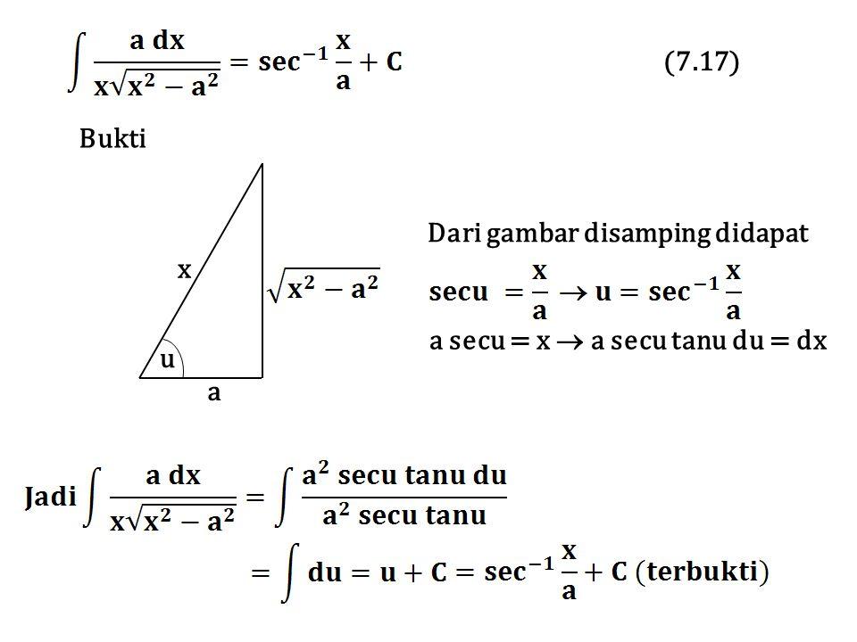 Bukti Dari gambar disamping didapat a secu = x  a secu tanu du = dx x a u (7.17)