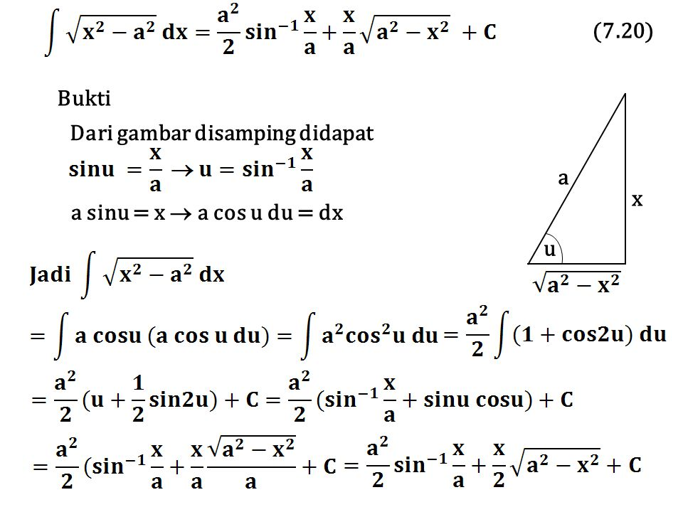 Bukti a x u Dari gambar disamping didapat a sinu = x  a cos u du = dx (7.20)
