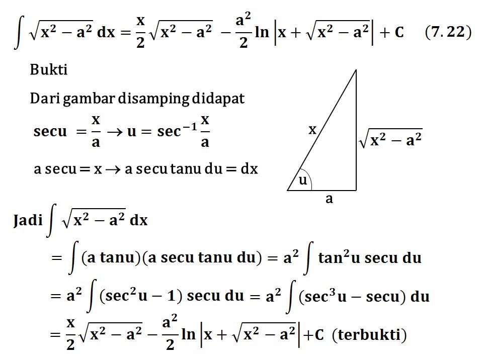 x a u Dari gambar disamping didapat a secu = x  a secu tanu du = dx