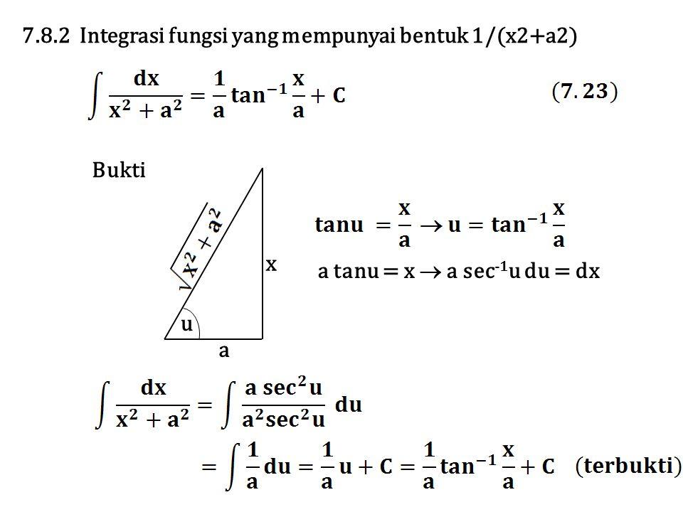 7.8.2 Integrasi fungsi yang mempunyai bentuk 1/(x2+a2) x a u Bukti a tanu = x  a sec -1 u du = dx