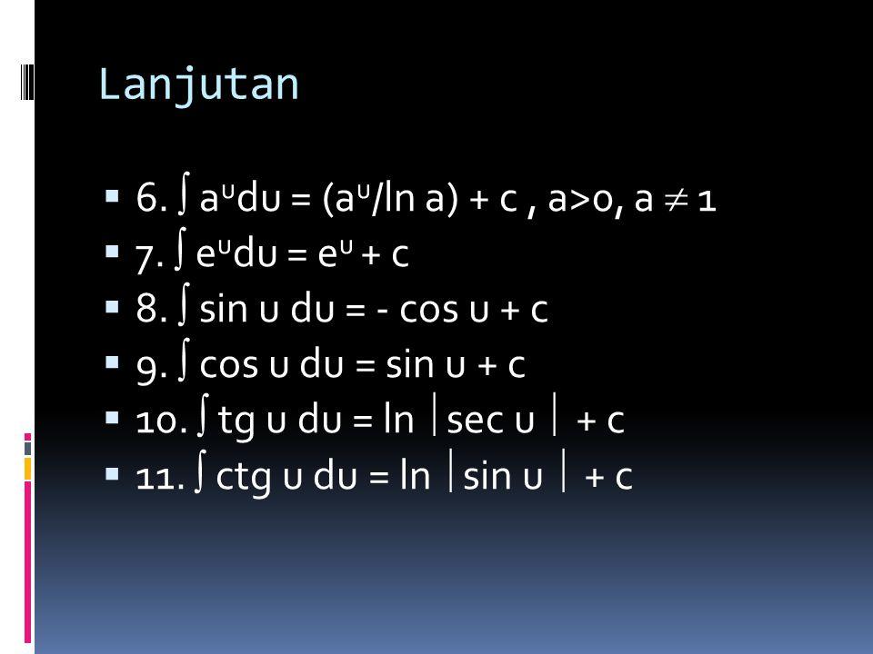 RUMUS–RUMUS DASAR INTEGRAL  1.  d/dx f(x)dx = f(x) + c  2.  (U+V)dx =  Udx +  Vdx, U dan V fgs dari x  3.   Udx =   Udx,  konstanta, U fgs