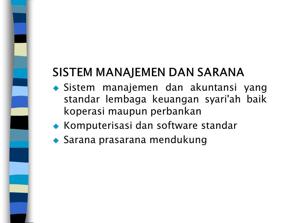 SISTEM MANAJEMEN DAN SARANA  Sistem manajemen dan akuntansi yang standar lembaga keuangan syari'ah baik koperasi maupun perbankan  Komputerisasi dan