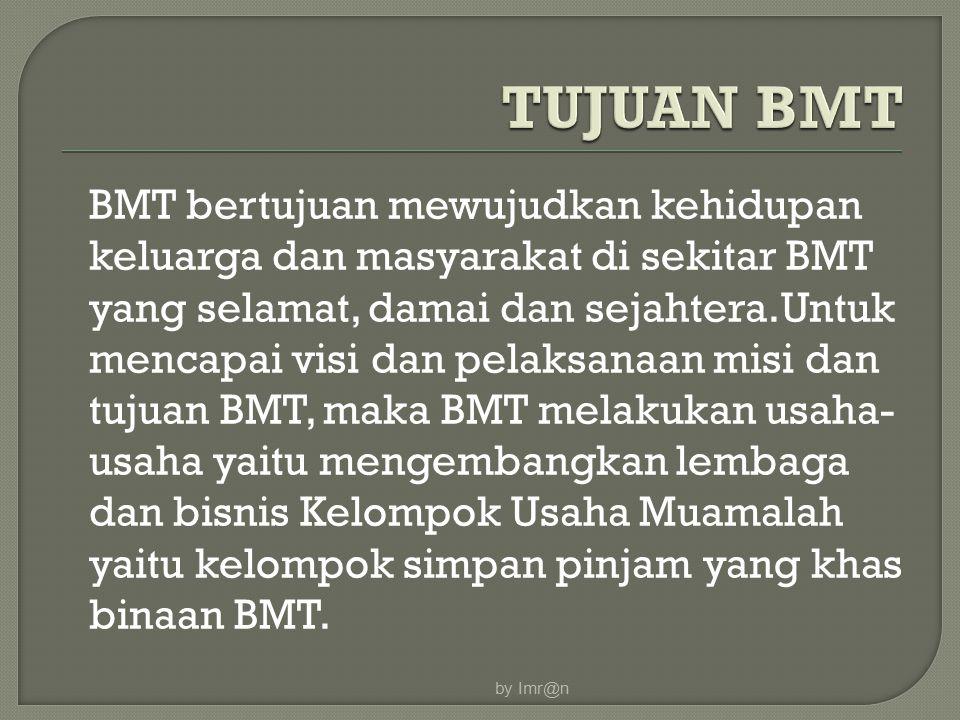 BMT bertujuan mewujudkan kehidupan keluarga dan masyarakat di sekitar BMT yang selamat, damai dan sejahtera.Untuk mencapai visi dan pelaksanaan misi dan tujuan BMT, maka BMT melakukan usaha- usaha yaitu mengembangkan lembaga dan bisnis Kelompok Usaha Muamalah yaitu kelompok simpan pinjam yang khas binaan BMT.