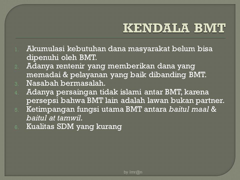 1. Akumulasi kebutuhan dana masyarakat belum bisa dipenuhi oleh BMT. 2. Adanya rentenir yang memberikan dana yang memadai & pelayanan yang baik diband