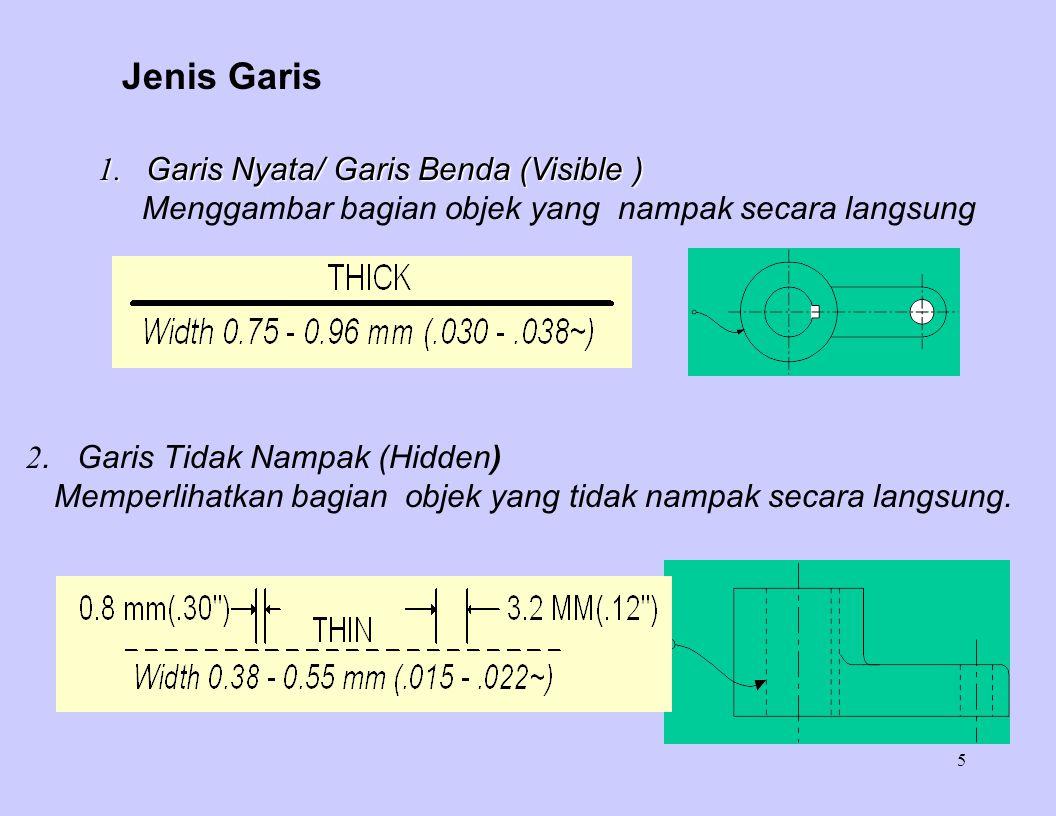 5 Jenis Garis 1. Garis Nyata/ Garis Benda (Visible ) Menggambar bagian objek yang nampak secara langsung 2. Garis Tidak Nampak (Hidden) Memperlihatkan