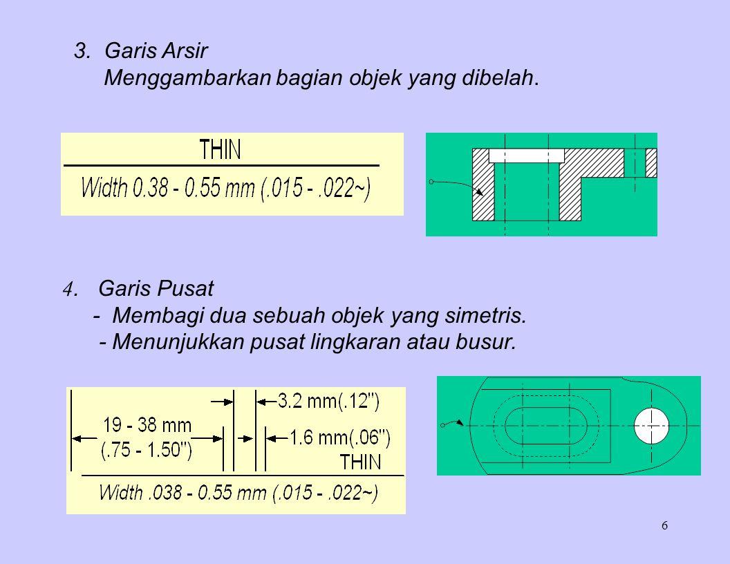 6 3. Garis Arsir Menggambarkan bagian objek yang dibelah. 4. Garis Pusat - Membagi dua sebuah objek yang simetris. - Menunjukkan pusat lingkaran atau